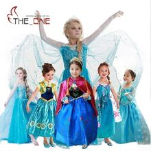 Girls Princess Party Dress Kids Elsa Anna Cosplay Costume Children Embroidery Sequins Dresses Night Gown With Long Cape O015(China)