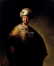 Man In Oriental Dress portrait Rembrandt---TOP art oil painting-hand painted replica -free shipping cost(China)