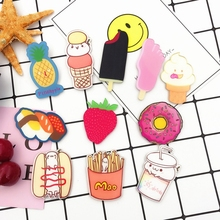 Cartoon Badges Ice Cream Fries Strawberry Hamburgers The Pin Brooch 3D Acrylic Pin On Badge Cheapest Free Shipping XF115