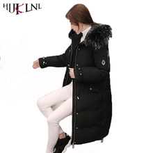 HIJKLN 2017 Winter Abrigo Mujer Women Long Down Jacket Real Raccoon Fur Collar Feather Duck Down Jackets Coat Female Parka QN478(China)