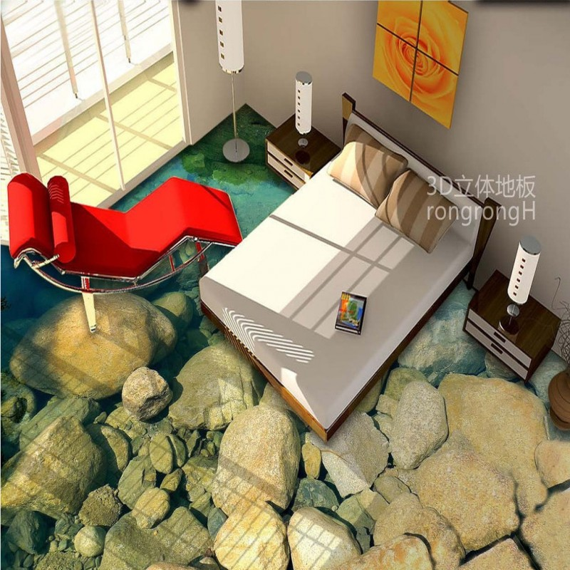 Free Shipping Clear bottomed river water pebble 3D floor painting non-slip waterproof bathroom lobby living room flooring mural<br>