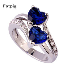Fatpig Jewelry Fashion Ring Size 6 7 8 9 10 11 12 Silver Plated Rhinestone Women Ring