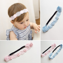 2017 New Pink And Blue Lace Flower Hairbands Girls Headwear Children Headbands Elastic Hair Band Kids Hair Accessories(China)