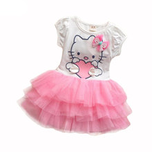Baby Girls Cartoon Dress Hello Kitty Girls Dresses Kids Princess Clothing Girl Clothes Robe Enfant Cloth Children Party Clothes(China)