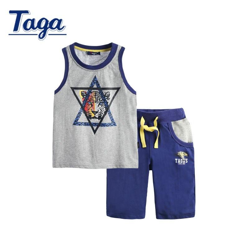 TAGA 2016 Fashion Baby Boy Clothing Set Vest + Shorts Set Boy Sleeveless Sets Tiger Cartoon Clothing Set Free Shipping<br>