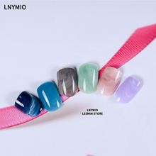 Color marble press on nails short round artificial nail tips red pink blue green grey art display