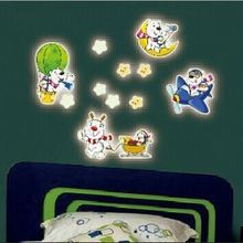 New Arrive Y0022 Free Shipping  Cute Dog Puppy Star Hot Ballone luminous fluorescent Removable PVC Wall Stickers Home Decoration