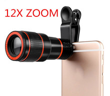 Universal Clip 8X 12X Zoom Mobile Phone Telescope Lens Telephoto External Smartphone Camera Lens FOR iPhone for Sumsung Huawei(China)
