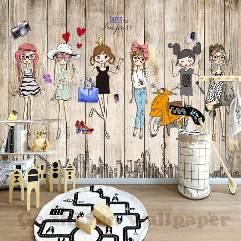 HTB1d56Ht1GSBuNjSspbq6AiipXab - Custom 3D Mural Hand-Ppainted Fashion Girl Wallpaper For Children Room