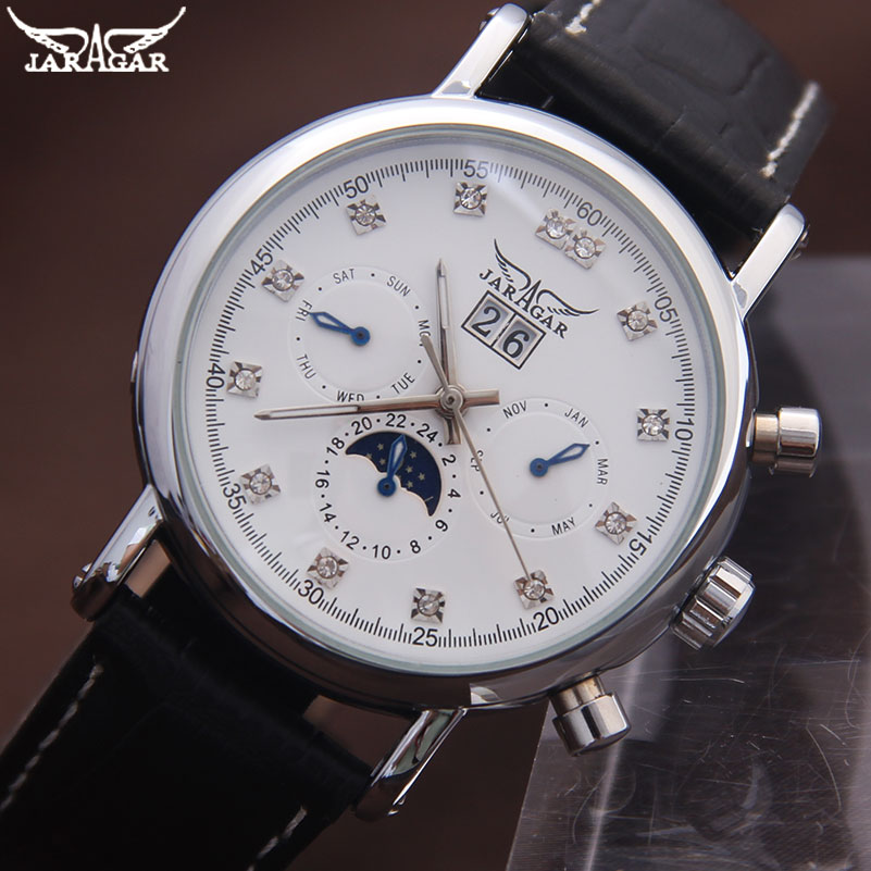 Jaragar popular brand men automatic mechanical watch mens casual moon phase calendar watches 24H auto date rhinestone clock<br><br>Aliexpress