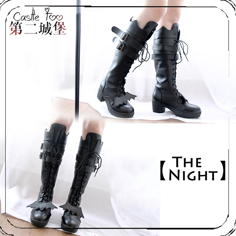 Lolita Shoes Original Black Gothic Bat Boots Long Boots High Heels Women Shoes
