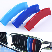 3Pcs/Set ABS Car Front Grill Trim Strips Cover Sticker Decal Car Styling Accessories For BMW E60 E90 F10 F18 F30 F35 3GT 5GT