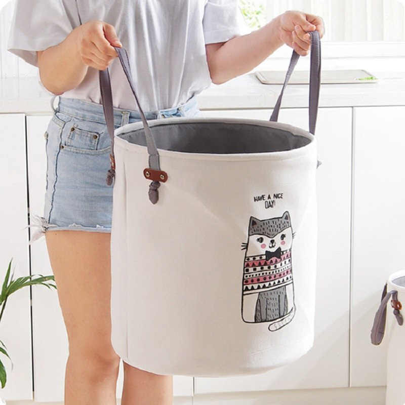 Cartoon Fabric Laundry Basket Bag Large Folding Dirty Clothes Sundries Toys Storage Baskets Box Home Decoration Woven Basket