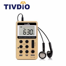 TIVDIO V-112 Mini Handheld Radio Portable FM AM 2 Band Digital Stereo Pocket Receiver Speaker For Walkman With Earphone F9202C(China)