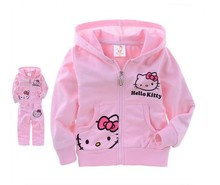 Kiqoo 2016 New Spring Autumn 100% Cotton Hello Kitty Boys & Girls Clothing Set 2-7 Years Kids Sports Suit Baby Tracksuit