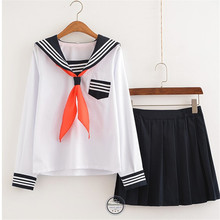 Plus Size S-3XL Top+Skirt Sets Student Class Service School Uniform Navy Sailor Suits OY-X0701(China)