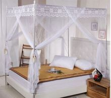 White Lace 4 Corners Post Bed Canopy Mosquito Net For Twin Queen Cal King Size (No Bracket)