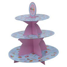Birthday Party Wedding 3 Tier Cupcake Cake Desserts Stand pink(China)