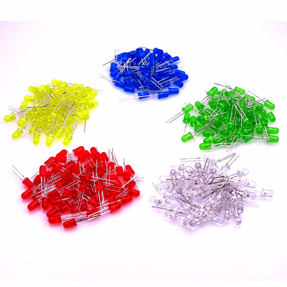 100pcs 5mm Led White/Blue/Yellow/Red/Green light bulbs / 5MM Colour LED emitting diode Light-Emitting Diode(China)