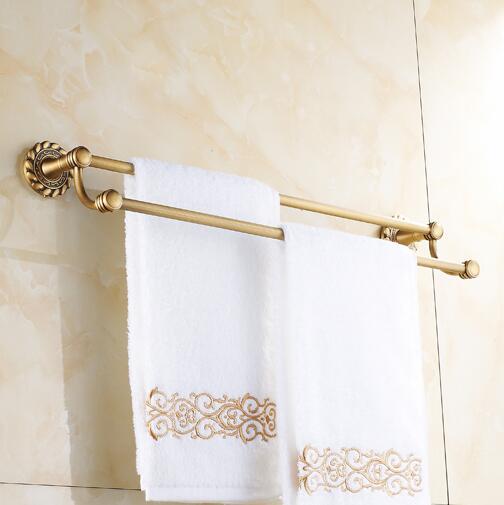 Bathroom accessories Antique brass 60cm Double towel bars bathroom towel rack wall mounted antique bathroom towel bars shelf<br><br>Aliexpress