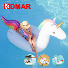 DMAR Inflatable Unicorn Giant Pool Float 200cm Swimming Ring Circle Inflatable Mattress Adults Kids Mat Beach Water Party Toys