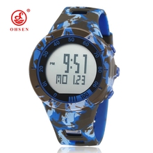 OHSEN Digital Man Hombre Wristwatch Army Blue camouflage Rubber Strap Alarm Date LCD 50M Sport Male Watch Relogio Masculio Gift(China)