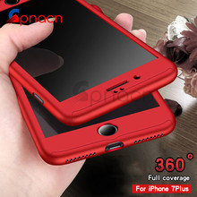 360 Degree Full Cover Red Case For iPhone 7 6 6s With Tempered Glass Cases For iphone 6 7 Plus Phone bag Capa Fundas(China)