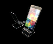 50pcs Fashion clear acrylic Mount Tablet phone display stand jewelry/watch/mobile cell phone display holder rack W-02(China)