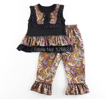 2017 Adorable Baby Clothes Bib Tank Top Ruffle Floral Pant Set Toddler Girls Boutique Spring Outfit Children's Clothing set