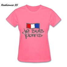 Casual New Design Je Suis Paris Womens t shirt Newest Round Neck 100 % Cotton Wholesale Femme T-shirt(China)