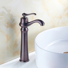 Antique oil rubbed bronze basin faucet red, Copper wash basin faucet hot and cold, Brass sink basin faucet mixer water tap retro(China)