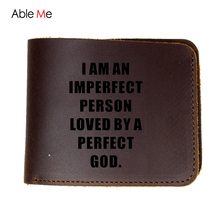Fashion Men Wallet Leather Black Coffee Solid ID Credit Card Holder Men's Purses dollar price God love Short slim Wallets(China)