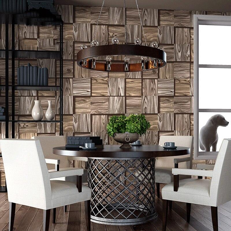 3D Stereoscopic Wood Grain Square Geometric Wallpaper PVC Waterproof Living Room Restaurant Cafe Vinyl Wallpaper For Walls Roll<br>