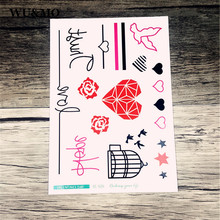 SC2520 2D Sketch New Design Lovely Body Art Temporary Tattoo Stickers Fake Flash Lovers Red Rose Heart Element Taty tatuajes(China)
