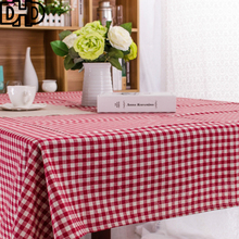 DHD Plaid Tablecloth Christmas Tablecloth Rectangular Cotton Linen Table cloth for home dinner table cover for outdoor furniture(China)