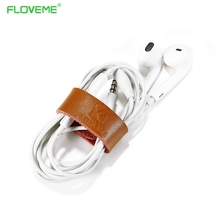 FLOVEME 2pc/Lot Real Leather Cable Ties Cable Wrapped Thread Earphone Line Winder Portable Compact Cable Organizer Tools