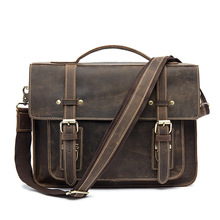 Crazy Horse business Briefcases Genuine Leather Men Bag soft handle zipper solid vintage Laptop Bag for Men mens bags Briefcase(China)