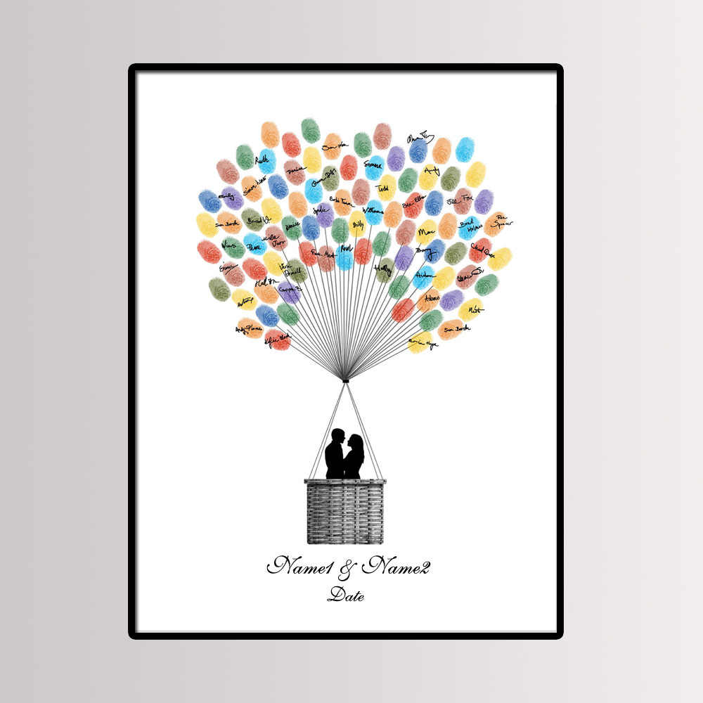Party Favor 40*60cm Multi Size Wedding Fingerprint Tree Painting Signature Guest Book Couple's Kiss Canvas Painting With Ink Pad