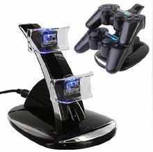 2017 NEW  LED Light Dual USB Powered Charging Dock Stand Holder Support Charger For Sony PlayStation 3 PS3 Controller