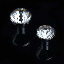 25mm 30mm rhinestone drawer watch tv table knobs pulls silver chrome clear glass crystal dresser kitchen cabinet door handles
