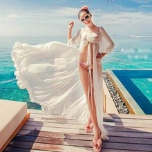 Beach Dress Women Long Tunic Cover Up Solid White Beach Wear Chiffon Flouncy Cover Ups Sleeve Sexy See Through Swimsuit CoverUp(China)