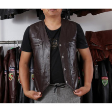 Men's  Genuine Leather Vest Reporter Vest Waistcoat Tank Top Jacket Motorcycle Vest size L-6XL