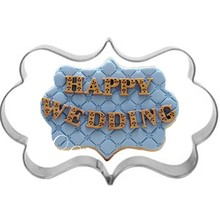Stainless Steel Blessing Wedding Plaque Frame Fondant Cookie Cutter Biscuit Sugarcraft Kitchen Mould Baking Pastry Tool
