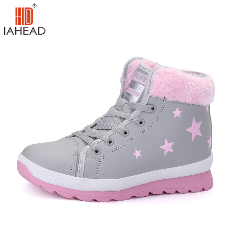 IAHEAD Shoes Warm Women Boots Winter Shoes New Arrival Casual Style Flats Shoes Lace Up boots Ankle High Boots UPC371<br>