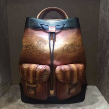 TERSE_Best Selling China Manufacture Handmade Real Leather Backpack Italian Leather Wholesale Price Apricot Color Engraving