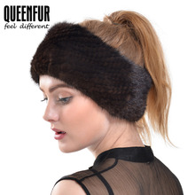 QUEENFUR 2016 New Arrival Real Knitted Mink Fur Scarves Fashion Elegant Mink Fur Headband For Women Winter Genuine Fur Headgear