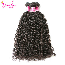 Vanlov Malaysian Water Wave Hair Bundles Human Hair Extension Natural Color Non Remy Weave Can Buy 3/4 Bundles Free Shipping
