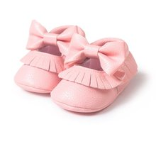 Baby Moccasins Newborn Infants Kid Baby PU Tassel Bowknot Shoes Soft Soled Crib Shoes Prewalker