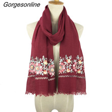 New design hot selling ladies TR cotton paisley women scarf wrap shawl embroidered scarf for women and girl scarves(China)