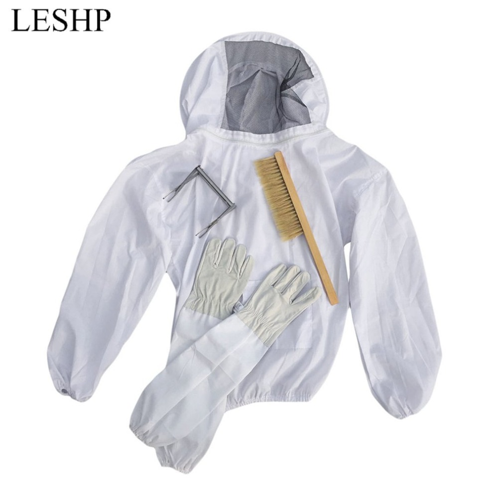 4PCS/SET Beekeeping Suit Tool Set Breathable White Beekeeping Jacket + Bee Brush + Lifter + Gloves Set Equipment<br>